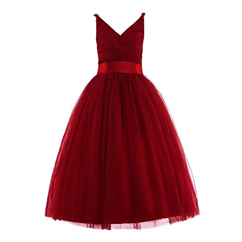Holiday Dresses For Kids (Glamulice Girls Lace Bridesmaid Dress Long A Line Wedding Pageant Dresses Tulle Spaghetti Strap Party Gown Age)