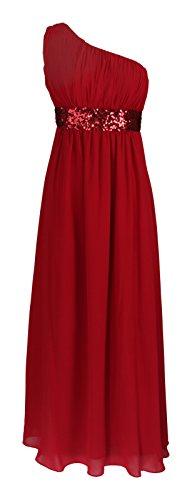Fashion para mujer One de casa de diseño de larga vestido con diseño de lentejuelas y vestir para el hombro Rosso
