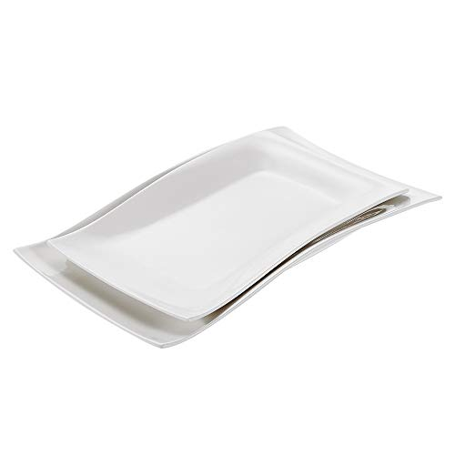 (Vancasso 2-Piece Ivory White Ceramic Dinner Serving Platters Trays, Cream White Porcelain 11