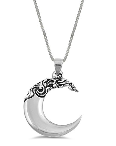 Large Crescent Moon Sterling Silver Pendant Necklace Jewelry (24 Inch)