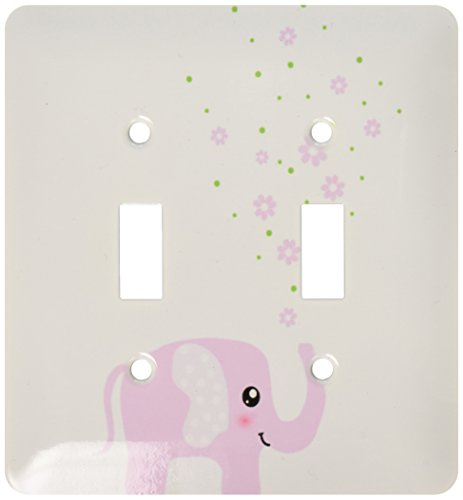 3dRose lsp_113125_2 Cute Pink Elephant Blowing Flowers From Trunk Girly Kawaii Kids Nursery Animal Baby Girl Cartoon Light Switch Cover by 3dRose
