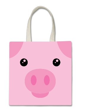 Pig Piggy Piglet Cute Face Halloween Trick Or Treat Polyester White Tote Bag 15x16x -