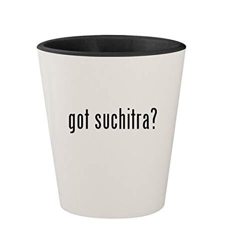 got suchitra? - Ceramic White Outer & Black Inner 1.5oz Shot Glass