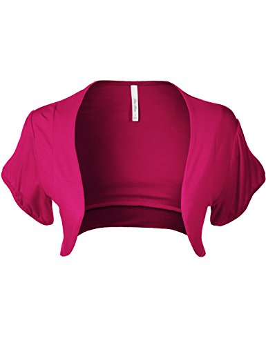 - Luna Flower Women's Plus Size Basic Solid Puff Short Sleeve Crop Open Front Borelo Cardigans HOT_Pink 3X (QCDW030)