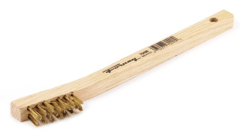 (Forney 70490 Wire Scratch Brush, Brass with Wood Handle,)