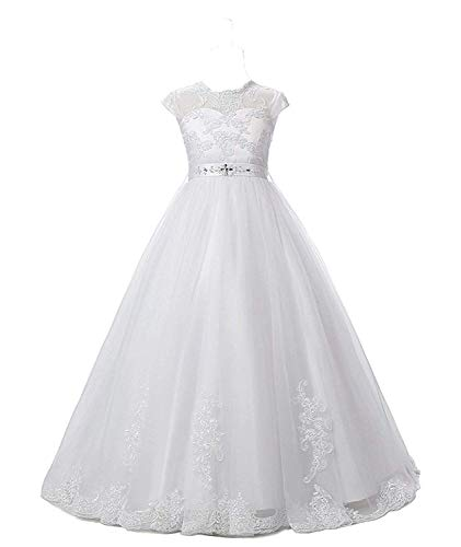 Gorgeous First Communion Dresses (Nina Flower Girls Pageant First Communion Scoop Lace Dress White)