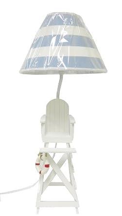 Lifeguard Chair Beach Summer Table/Desk Lamp Blue U0026 White Shade