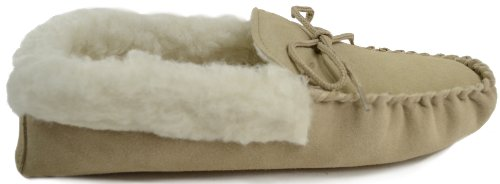 Slippers Suede Sole Tan Wool Soft with Cuff 3 Ladies Moccasin Size and 5tAwf5q