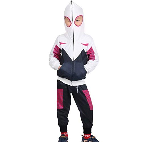 Children Toddler Spider-Verse Miles Morales Gwen Stacy Noir Peter Parker Hoodies Jacket Sweatshirt Costumes Pants Set