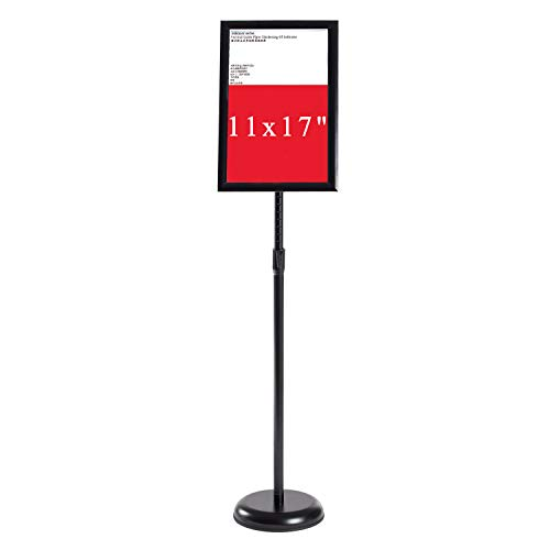 (Pilot Whale Floor Standing Sign Holder Poster Stand, Adjustable Stand Height,Poster Frame Revolvable to Either Horizontal or Vertical View Display (Black, 11 x 17 inches))