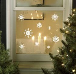 SNOWFLAKES Christmas Window Stickers By Purlees Reusable Static - Snowflake window stickers amazon