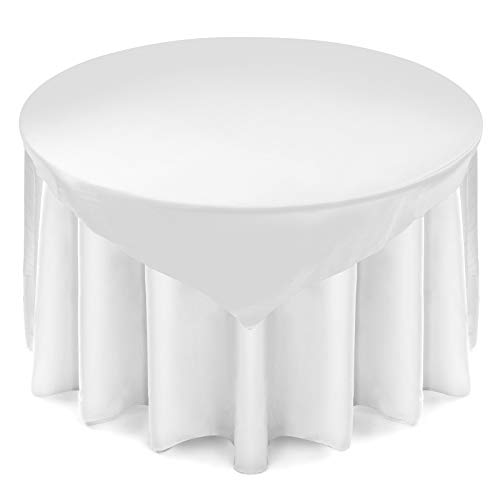 Clear White Overlay (Lann's Linens Satin Wedding Table Overlay - Tablecloth Topper (72