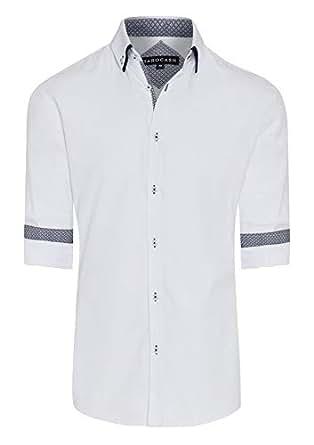 Tarocash Men's Archie Textured Shirt White M Cotton Blend Regular Fit Long Sleeve Sizes XS-5XL for Going Out Smart Occasionwear