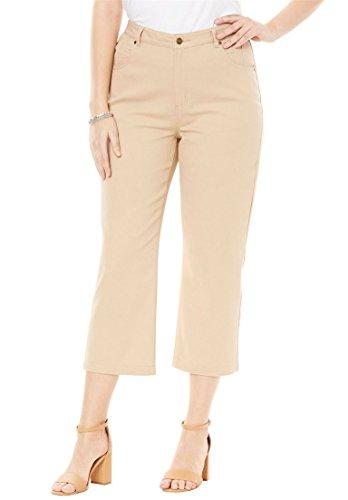 Khaki Capri Pants - Jessica London Women's Plus Size Classic Cotton Denim Crop Pant New Khaki,20