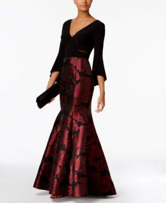 Xscape Women's Long Ity Bellsleeve with Mermaid Brocade Skirt, Black/Berry, 6