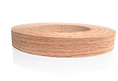 "Red Oak 1"" X 50' Roll, Wood Veneer Edgebanding Preglued - Flexible Wood Tape, Easy Application Iron On with Hot Melt Adhesive. Smooth Sanded Finish. Made in USA"