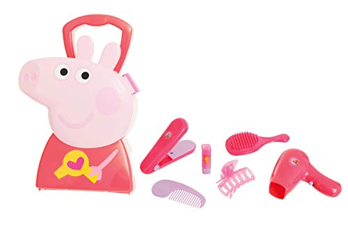 JAMARA 410097 Hair Styling Case 7-Piece Set Stable and Handy Carry Case Child-Friendly Hair Accessory with Rocker and Accessories Cute Peppa Pig Design Red