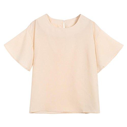 Manica Camicetta della Magliette Collo Corto Camicia O Raccolto Beige Casuale Top la Donna Moda Rcool EI7XqE