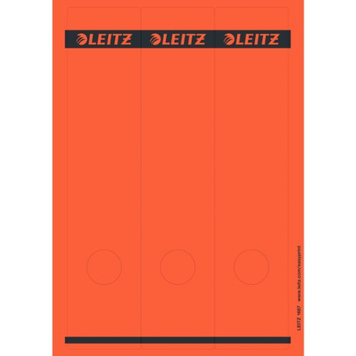 (Esselte Leitz 16870025 Spine Labels Self-Adhesive / PC / Paper / Long / Wide Pack of 75 Red)