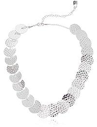 Women's Silver Tone Disc Collar Necklace