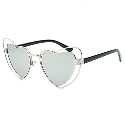 - Love Heart Shaped Sunglasses Women Vintage Cat Eye Mod Style Retro Glasses (sliver frame sliver lens, 53)