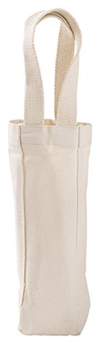 Liberty Bags Cotton Single Bottle Wine Tote, Natural, One Size