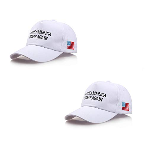 2 Pack - Make America Great Again Hat, Donald Trump MAGA Cap Adjustable 2020 Keep America Great Baseball Hat (White) (Embroidered Eyelet Gown)