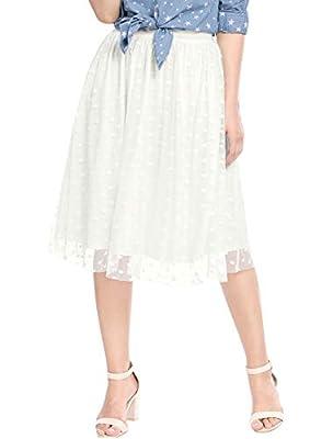 Allegra K Women's Elastic Waist Ballet Layered Polka Dot Mesh Tulle Midi Skirt