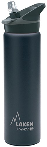 Laken Jannu Vacuum Insulated Stainless Steel Water Bottle with Straw Cap and Handle 25oz Black