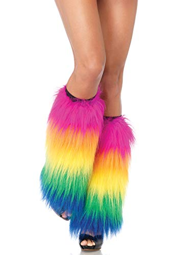 Leg Avenue Women's Warrior Faux Fur Leg Warmers with Faux Leather Wrap Detail, MultiColor, O/S