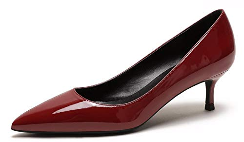 - CAMSSOO Womens Low Heel D'Orsay Slip On Pointed Toe Dress Pumps Shoes Wine Red PU Size US9.5 EU43