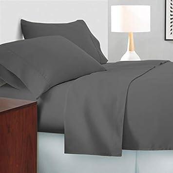 SanCozy Juego de sábanas de 400 Hilos, Juego de 4 Piezas, 100% algodón Premium, sábana de satén, Transpirable, se Adapta a colchones de hasta 45 cm de ...
