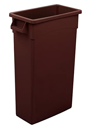 Continental H8322BN 23-Gallon Wall Hugger LLDPE Waste Receptacle with Handles, Rectangular, Brown