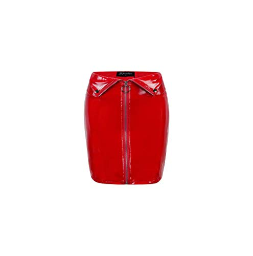 Women's Shiny Liquid Metallic Wet Bodycon Pencil Skirts Leather Skirt PU Short Skirts (S, Red) (Skirt Leather Patent)