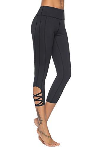 Mint Lilac Women's High Waist Capri Workout Yoga Pants Athletic Tummy Control Leggings with Straps Medium Black ()