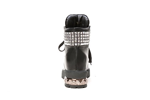 A&N Girls Square Heels Bandage Metal Ornament Imitated Leather Boots Black KWlRcM