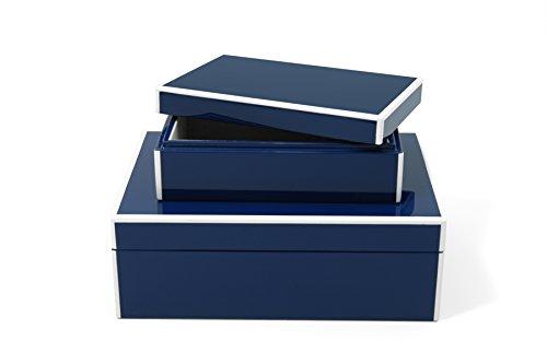 Swing Design Elle Lacquer Storage Box, Navy Blue, Set of 2