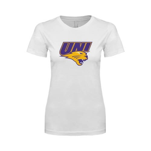 Northern Iowa Next Level Ladies SoftStyle Junior Fitted White Tee 'UNI Official Logo'