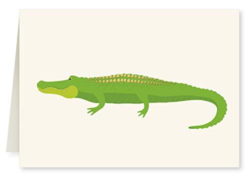 (Faux Designs Alligator Foil Embossed Blank Folded Note Card Set of 8 )