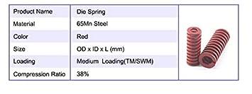 12x55mm Mold Primavera 12x50 12x25 F-MINGNIAN-SPRING 4pcs Red Resorte de compresi/ón Medio de Carga Molde de Matriz de compresi/ón del Resorte TM12x20 tama/ño : 12x20mm 12x30