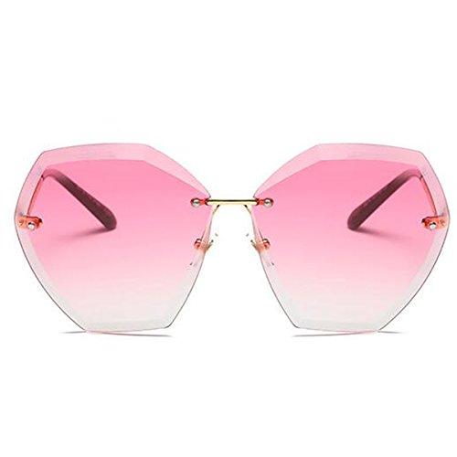 Girl's Women Sunglasses Cool Classic MetalFrame Luxury Frameless Mirror Trimming Street Shoot Wild - Wood Sunglasses Wild