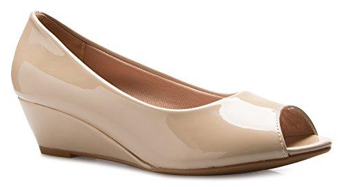 OLIVIA K Women's Classic Open Toe Kitten Heel Wedges   Dress, Work, Party Low -