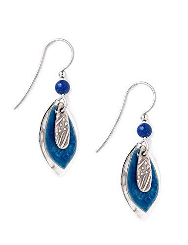 Silver Forest Silvertone and Blue Football Shapes Dangle Earrings