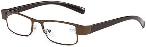 RJGOPL des lunettes de soleil LeonLion Quadrado Dos Homens do Métal Oculos de Leitura Hypermetropia Óculos Não Verres à Revêtement Sphérique Rétro Velho Tea +150