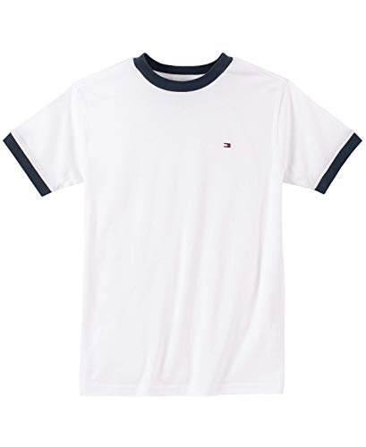 Tommy Hilfiger Big Boys' Core Crew Neck Ken Tee, Classic White, Large (16/18) (Tommy Hilfiger Sweater Red Women)