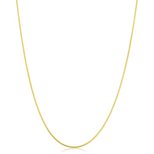 Kooljewelry 14k Solid Yellow Gold Round Snake Chain Necklace (0.9 mm, 16 inch)