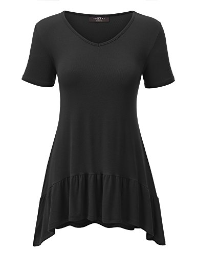 Made By Johnny WT1491 Womens V Neck Short Sleeve Ruffle Hem T Shirt M Black (Ruffle Bottom Tunic)