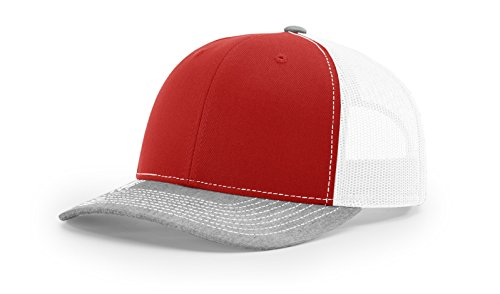 Richardson - Snapback Trucker Cap - 112 - Adjustable - Red/White/ Heather Grey ()