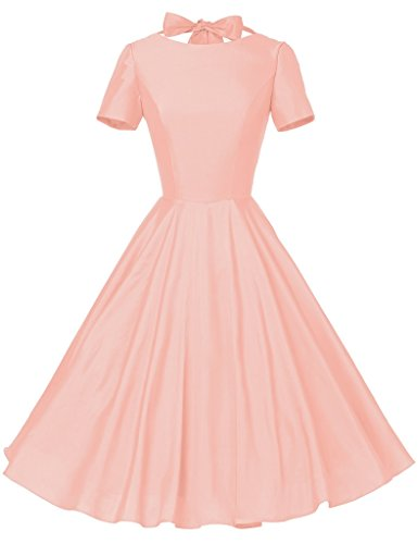 GownTown Womens 1950s Vintage Retro Party Swing Rockabillty Stretchy Dress - X-Large - Pink