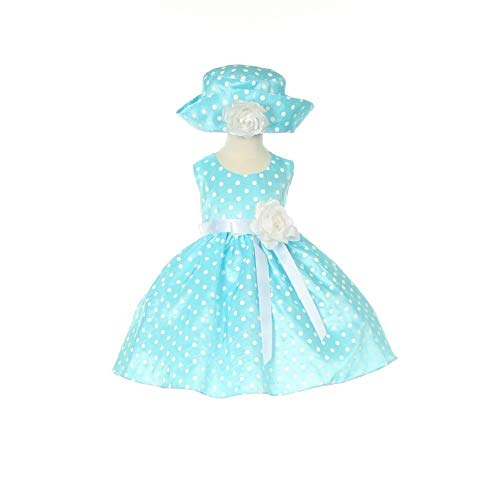 - Cinderella Couture Baby Girls Blue White Polka Dot Belted Occasion Dress 12M